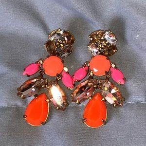 Stella & Dot EUC 2 in 1 hot pink & orange earrings